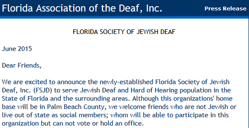 New Jewish Deaf Group in Florida!