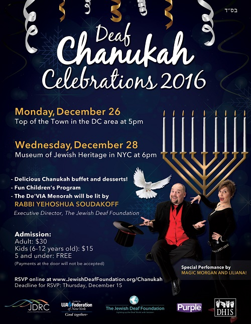 The Jewish Deaf Foundation has announced plans for this year's Chanukah Celebrations