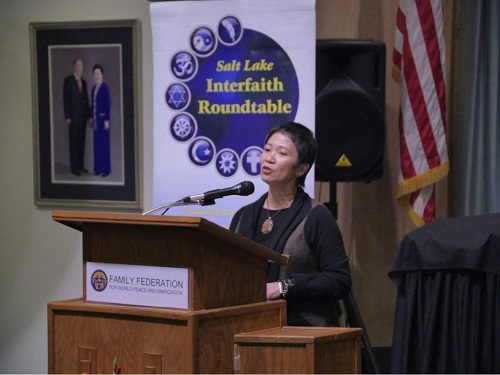 Photo: Mike Stack | Courtesy photo) Rev. Carmela Javellana-Hirano describes her conversion to Buddhism Tuesday at the Salt Lake Interfaith Roundtable's Women of Faith event.