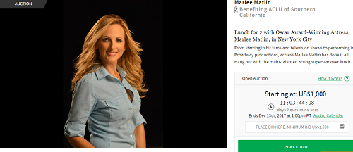 For Auction: Lunch for 2 with Oscar Award-Winning Actress, Marlee Matlin, in New York City