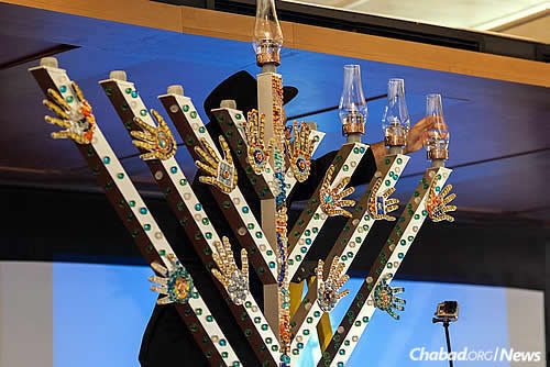 An intricately designed Deaf art menorah