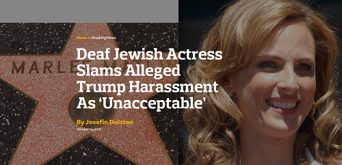 Deaf Jewish Actress Slams Alleged Trump Harassment As 'Unacceptable'