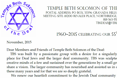 Annual Fundraising - Temple Beth Solomon of the Deaf, California