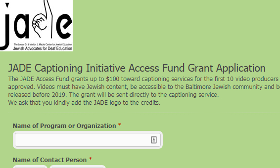 JADE Offers Captioning Grants